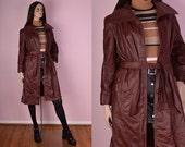 70s Leather Trench Coat/ Medium/ 1970s/ Vintage/ Jacket