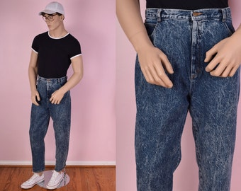 80s Blue Acid Wash Jeans/ 36 Waist/ 1980s/ High Rise/ Stone Wash
