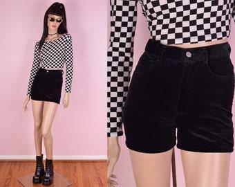 90s Guess Black Velvet High Waisted Shorts/ 24.5 Waist/ 1990s