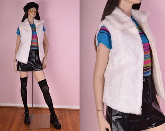 90s White Faux Fur Vest/ Medium/ 1990s