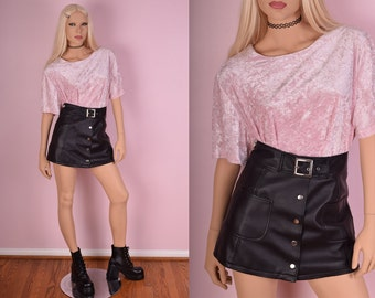 90s Baby Pink Crushed Velvet Tshirt/ XL/ 1990s/ Short Sleeve