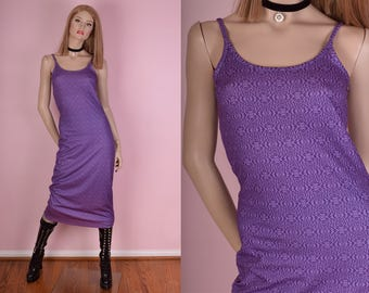90s Purple Psychedelic Print Tank Dress/ X-Small/ 1990s/ Rave
