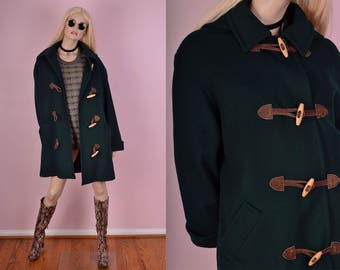 90s Green Wool Hooded Coat/ Large/ 1990s/ Jacket