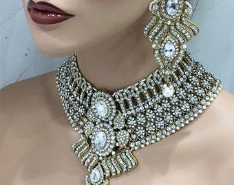 Wedding jewelry set, Bridal jewelry set, Antique Gold Crystal bridal bib necklace earrings, Indian Bollywood kundan fashion jewelry set