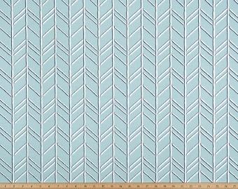 Spa Blue White Herringbone Curtains Bogatell  Rod Rocket  63 72 84 90 96 108 120 Long x 25 or 50 Wide