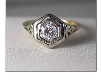 Antique Art Deco 14k .30 Ct. VS1-G Diamond Filigree Engagement Ring