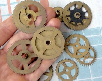Antique brass wall clock gears,wheels,cogs,parts.