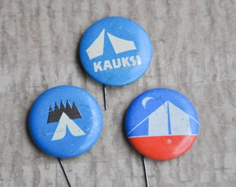 "Set of 3 Vintage Estonian tin badges. ""Tourism"". USSR era."
