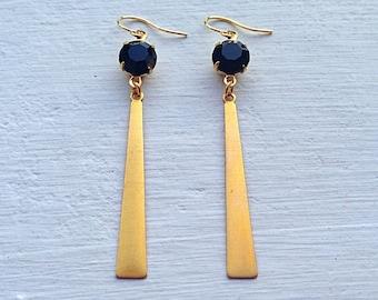 Black Earrings/Boho Earrings/Bohemian Earrings/ Boho Chic/Long Gold Earrings/Gifts For Her/Black Rhinestone Earrings/Jet Black Earrings