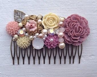 Hair Comb/Floral Hair Piece/Floral Comb/Bridal Hair Comb/Bridesmaid Gift/Wedding Hair Comb/Blush Pink Hair Comb/Mauve Comb/Dusty Rose Comb