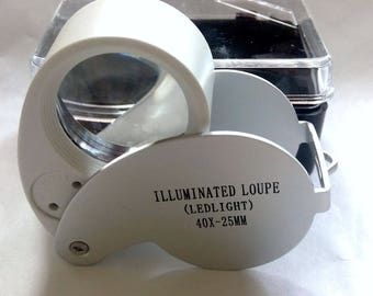 Lighted LED Jewelers Loupe, Magnifying glass, eyeglass, 40x magnifier, 20% off w purchase jewellery, gold, silver gemstone identificaton