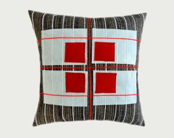 """Decorative pillow case, Upholstery Brown fabric with Red, Off White applique Throw pillow case, fits 18"""" x18"""" insert, Cushion case."""