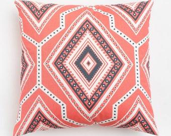 SALE: Santa Fe Coral Pillow Cover.  Southwest Desert Style. Modern geometric pink pillow.  Zippered Pillow. Euro Pillow Cover.