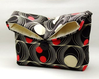 Foldover clutch, Fold over bag, clutch purse, evening clutch, wedding purse, bridesmaid gifts - Dots and circles on black (Ref. FC27 )