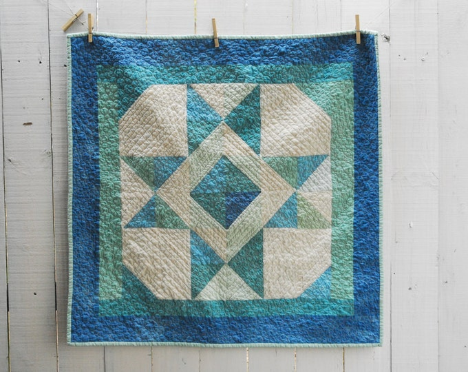 """Hand-Dyed Ohio Star Quilt, Organic Baby Quilt, Organic Wall Hanging, Organic Quilt, OOAK Ohio Star Wall Hanging, Baby Quilt 36""""x 36"""""""
