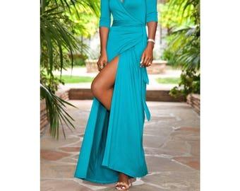 Maxi Wrap Dress Summer Dress Floor Length Wrap Dress Boho Maxi Dress Maxi Summer Dress 3/4 Sleeve Maxi Dress Jersey Maxi Dress Custom Size