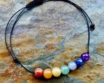 Chakra Bracelet, Boho Bracelet, Meditation Bracelet, Wish Bracelet, String Bracelet, Gemstone Bracelet, Macrame Bracelet,Friendship Bracelet