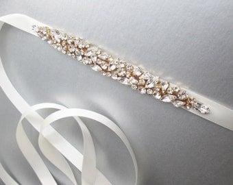 Bridal belt sash, Swarovski bridal crystal sash, Wedding belt sash, Crystal belt, Rhinestone bridal belt in silver, gold or rose gold