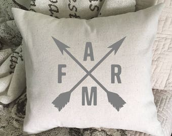 Farmhouse Pillow Cover, Farm With Crossed Arrows, Throw Pillow Cover, Farmhouse Decor, Hand Painted Pillow Cover, Rustic Home Decor