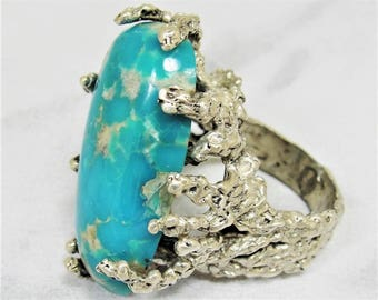 RESERVED Size 7.5 MASSIVE Vintage Sterling Turquoise Ring Gothic Brutalist Masterpiece