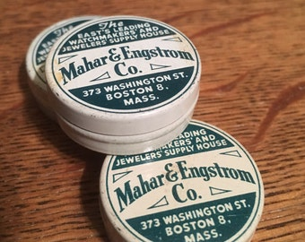 1 pc Vintage Mahar & Engstrom Watchmaker Tin Boston Mass Size Small 1-1/4""