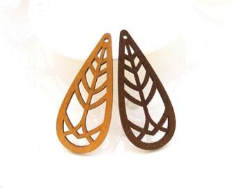 Dyeing Series - 6 pcs 28x 65mm  Variety of Colors Filigree Laser Cut Tear Drop Tree Geometrical Wood Dangle/ Wood Charm Wood earrings NM18