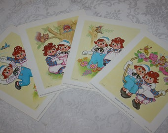 Adorable Vintage 1973 Raggedy Ann and Andy Prints Set of Four 4