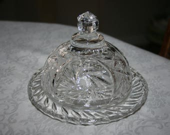 Vintage Hand Cut Crystal Round Covered Butter Dish Star Pattern