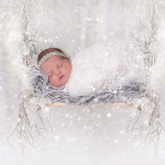 White fringe edge lace swaddle wrap AND/OR hand beaded headband for newborn photo shoots, lace wrap by Lil Miss Sweet Pea