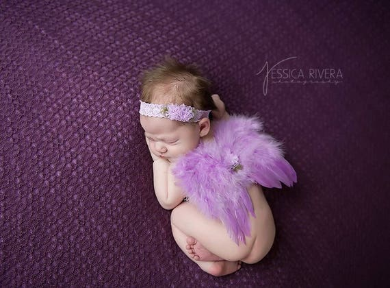 Purple Angel Baby Wings and/or Matching Vintage Lace Headband, teenie infant, bebe foto, photo shoot, baby photo, by Lil Miss Sweet Pea