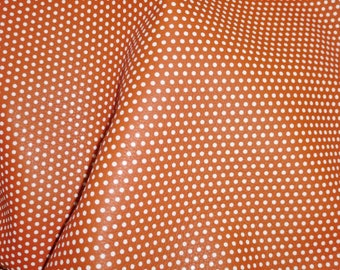 "Leather 12""x12"" Small WHITE Polka Dots on Persimmon ORANGE KING grain Cowhide 4 dots per inch 3-3.5oz / 1.2-1.4 mm PeggySueAlso™ E3090-45"