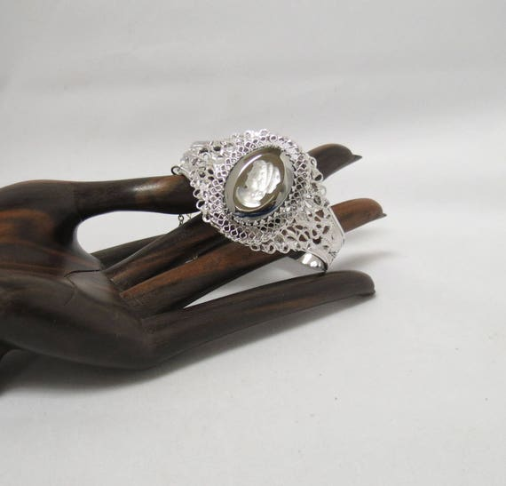 Vintage Whiting Davis Cameo Cuff Bracelet Smokey Gray Set Guard Chain
