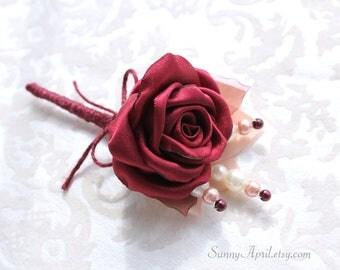Marsala Burgundy Blush Rose Burlap Boutonniere/ Rustic Wedding Lapel Pin/ Handmade Accessory