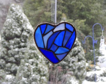 Stained Glass Heart, Heart Suncatcher, Blue Heart Ornament, Broken Heart Suncatcher, Patchwork Heart