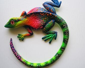 Gecko art sculpture wall decor