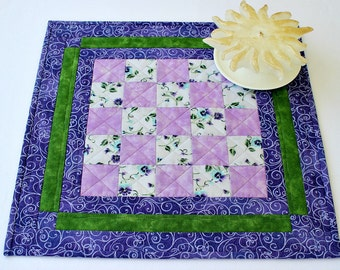 Quilted Table Topper, Pansies, Candle Mat, Purple Green Table Mat, Table Quilt, Quiltsy Handmade