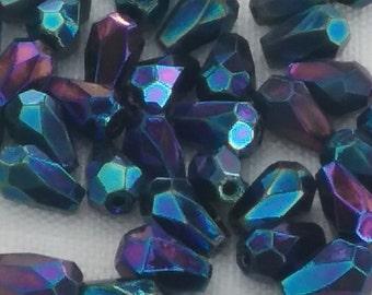 FaCeteD TEARDROPS 5x7mm Vintage CZECH Glass (12) BLUE IRis rainbow
