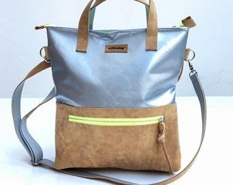 Tasche aus LKW Plane und recyceltem Sportgeräte Leder
