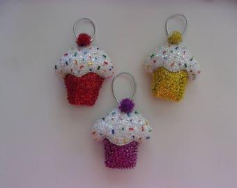 "Handmade Felt and Sequin CUPCAKE  Ornament 3""hx3"" CHOOSE COLOR"