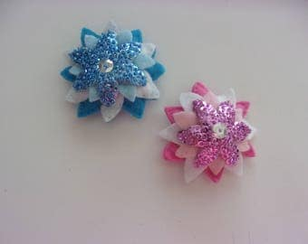 "Handmade Felt and Sequin FLOWER Magnet 3""h x 3""w CHOOSE Pink or BLUE"