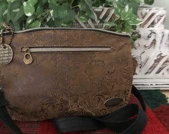 Keira's Crossbody Clutch Faux Suede & Leather w/ Credit Card Wallet w/ Brass Hardware