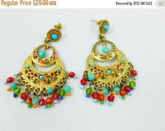 Spring Fling Sale Vintage  R.J. Graziano beaded  boho gypsy earrings  multi color