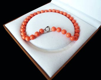 Free shipping-beautiful 12 mm coral-pink shell pearl necklace