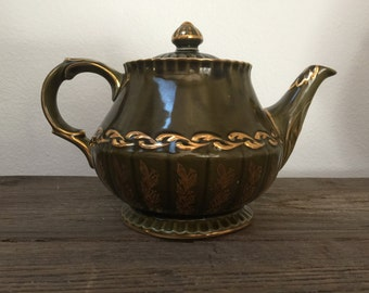 Vintage Ellgreave Teapot, olive green and gold, English