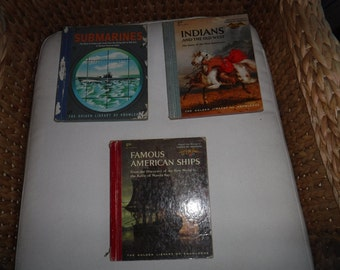 1958 & 59 the golden library of knowledge Indians Famous American Ships Submarines