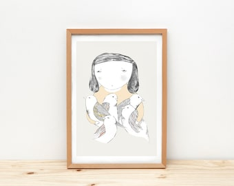 Girl and birds art print, illustration by depeapa, girl portrait, A4 wall art, birds poster, wall decor, home decor