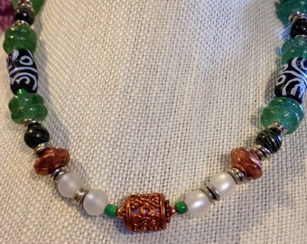 African Inspired Recycled Glass Bead and Trade Bead Necklace