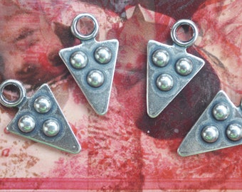 FOUR Moroccan Style Brass Dotted Arrow Charms, Sterling Silver Ox