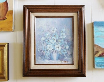 Vintage oil painting, vintage art, original art, blue floral still life oil painting, flower vase, wall decor, artwork
