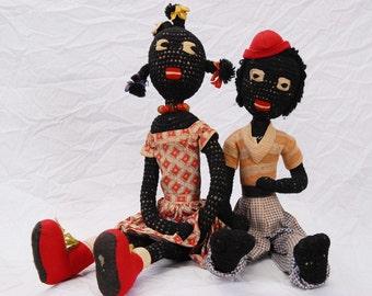 "Antique Hand Made Folk Art 24"" Cloth Girl & Boy - Black Americana"